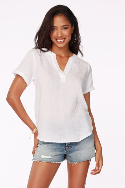 BEACH GAUZE V-NECK TOP