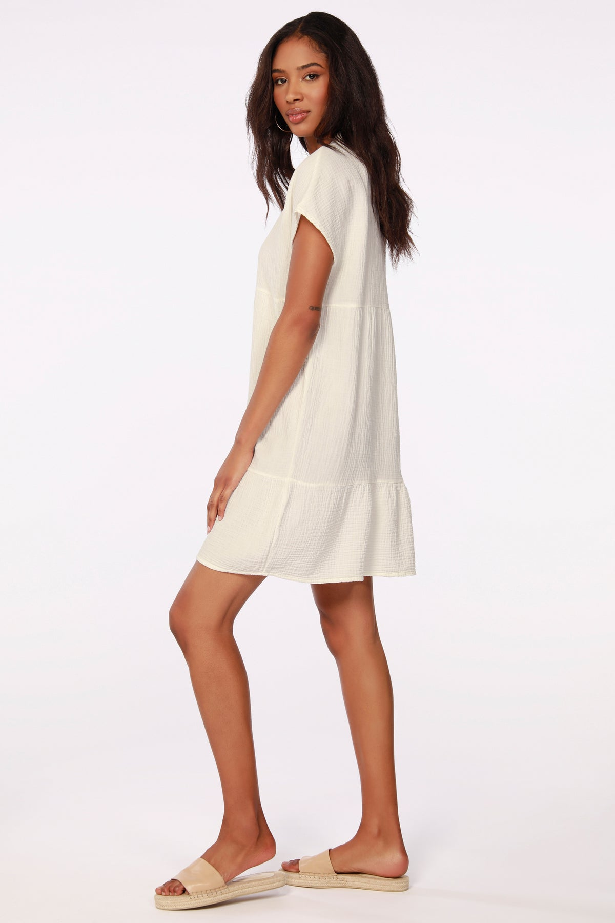 BEACH GAUZE TIERED DRESS