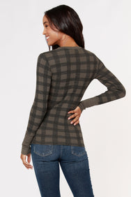 PLAID THERMAL CREWNECK