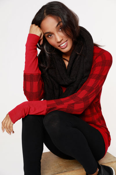 PLAID THERMAL V-NECK