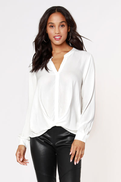 SPLIT NECK PLEATED CREPE BLOUSE