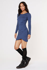 LONG SLEEVE RUCHED DRESS