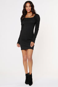 SHIRRED SLEEVE SQUARE NECK DRESS