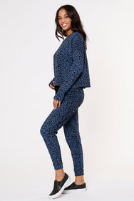 LEOPARD FLOCKED SWEATSHIRT