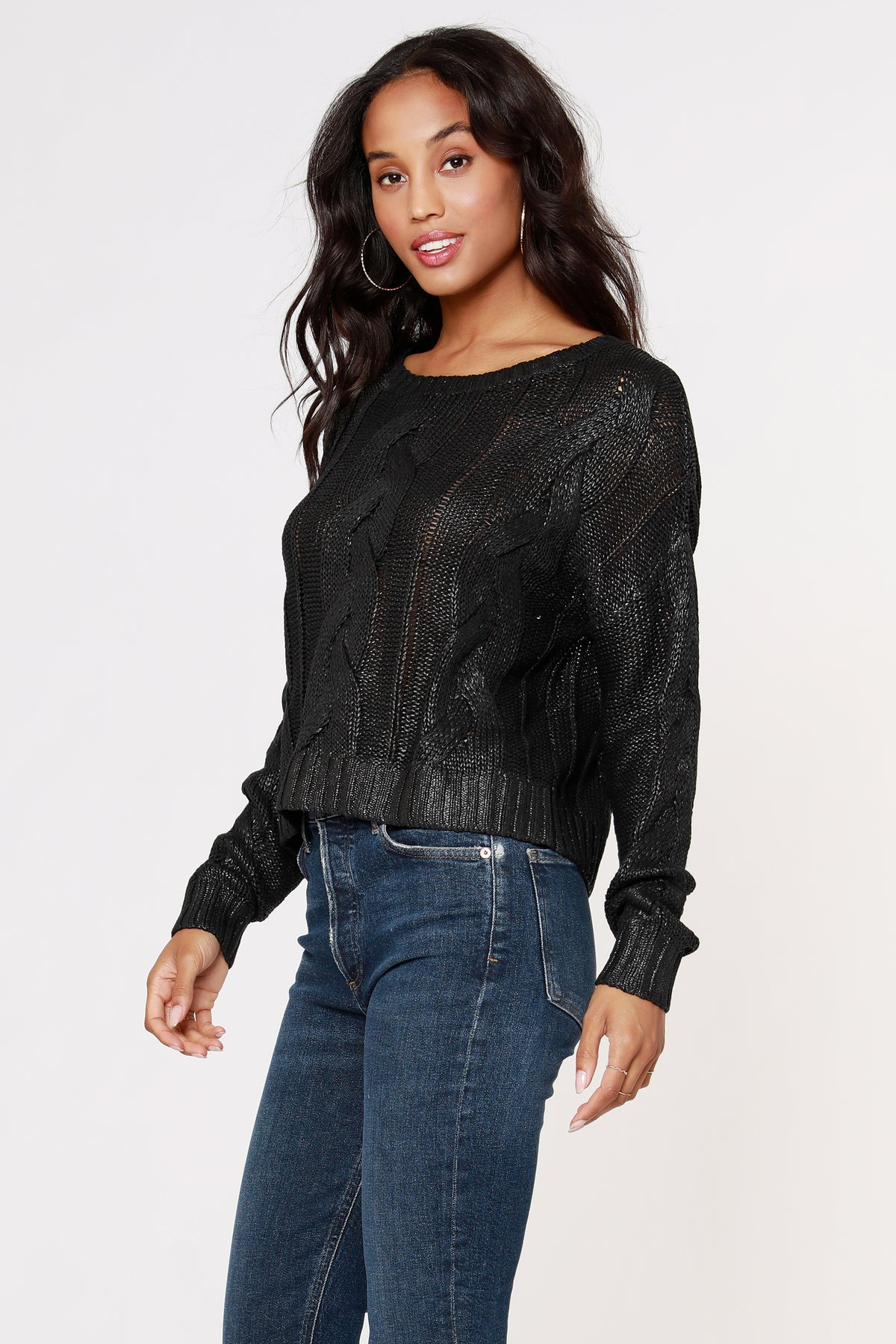 Cropped Coated Sweater