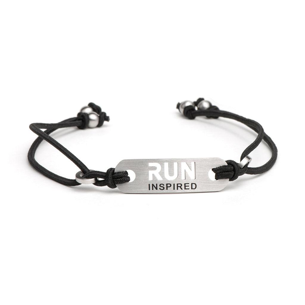 RUN INSPIRED Running Bracelet - Adjustable Black or Pink Stretch