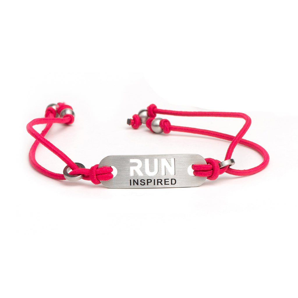 RUN INSPIRED Running Bracelet - Adjustable Pink or Black Stretch