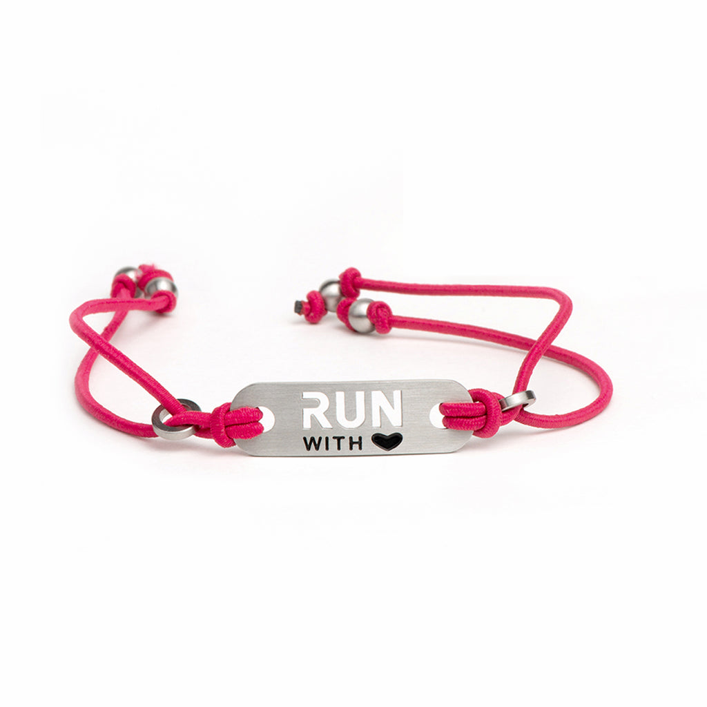 RUN with Heart Running Bracelet - Adjustable Stretch - Black or Pink