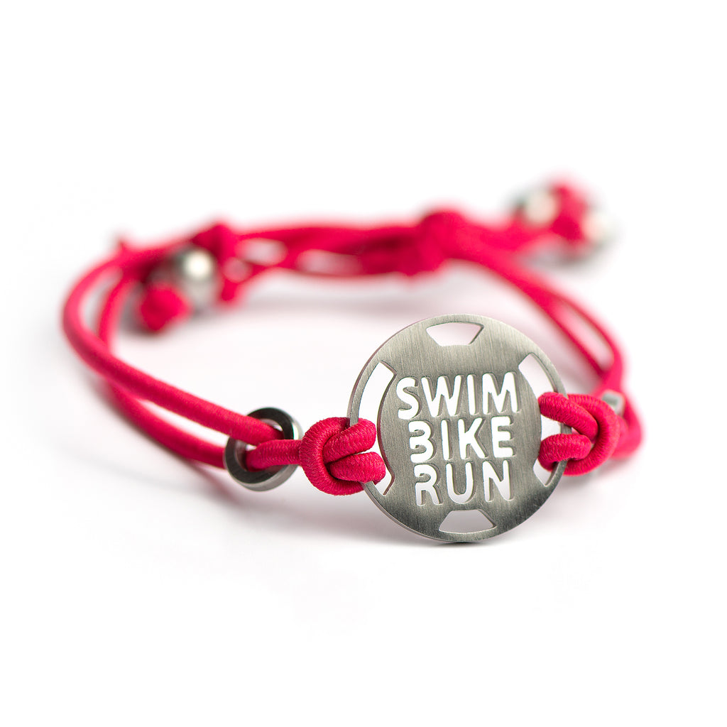 SWIM BIKE RUN Circle Triathlon Bracelet - Tie Stretch Adjustable