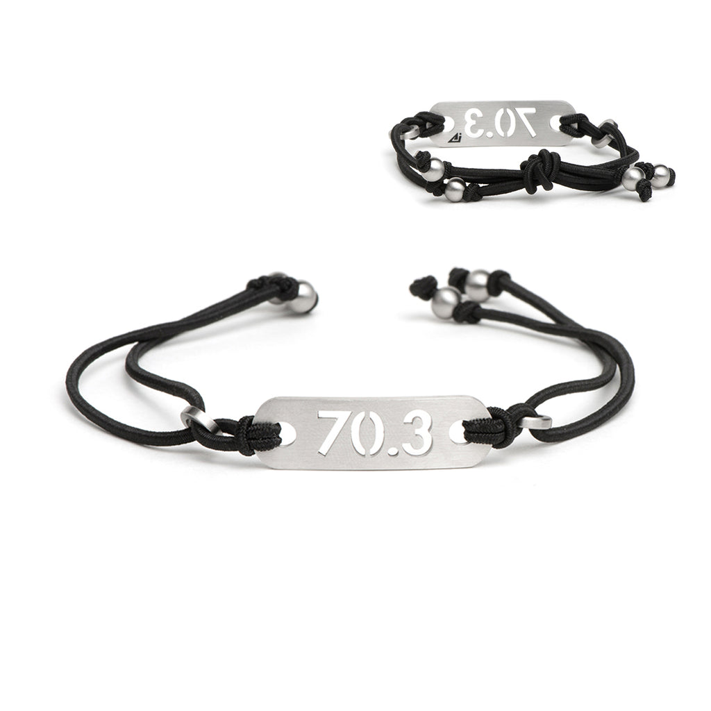 70.3 Half Iron Distance Triathlon Black Bracelet - Tie Stretch Adjustable