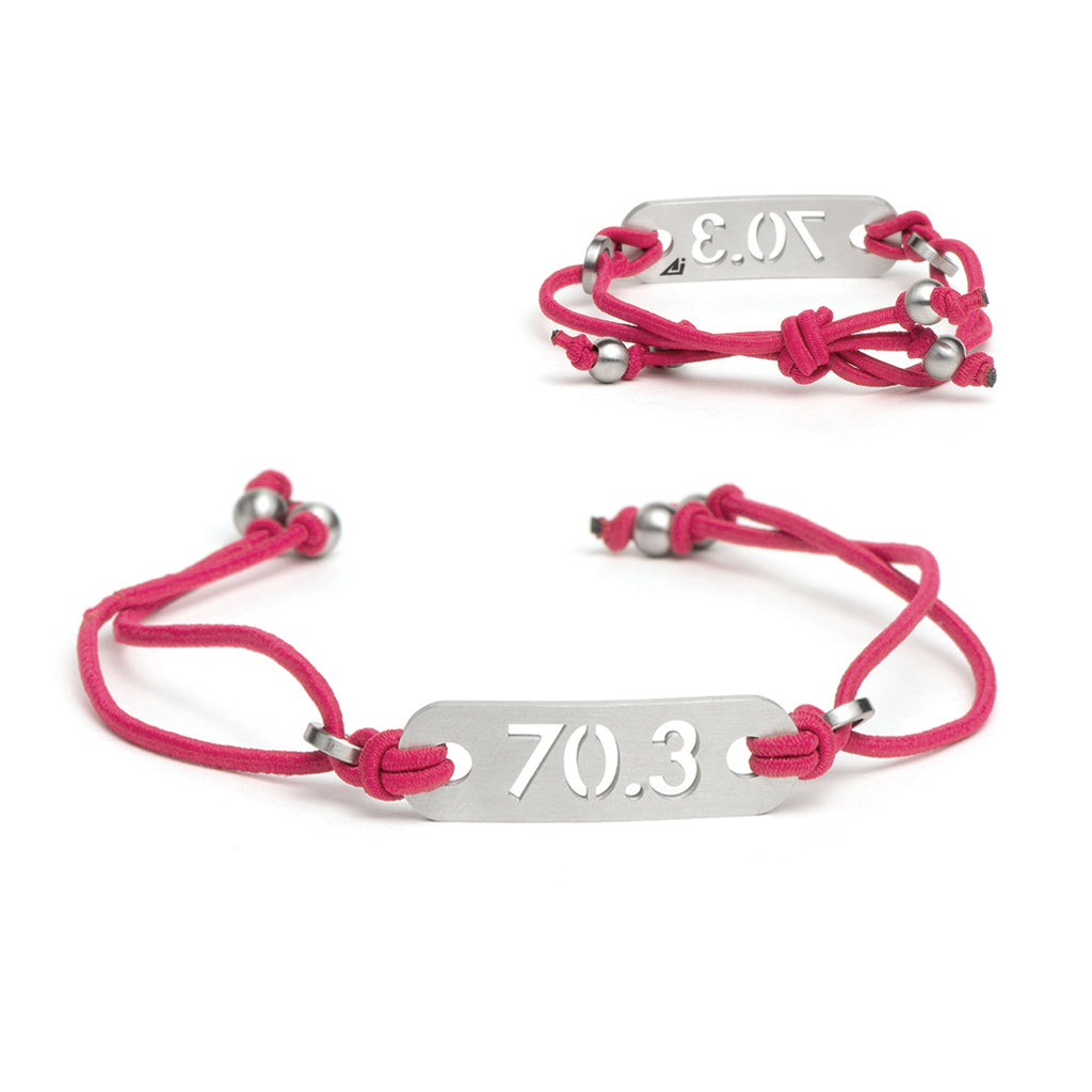 70.3 Half Iron Distance Triathlon Pink Bracelet - Tie Stretch Adjustable