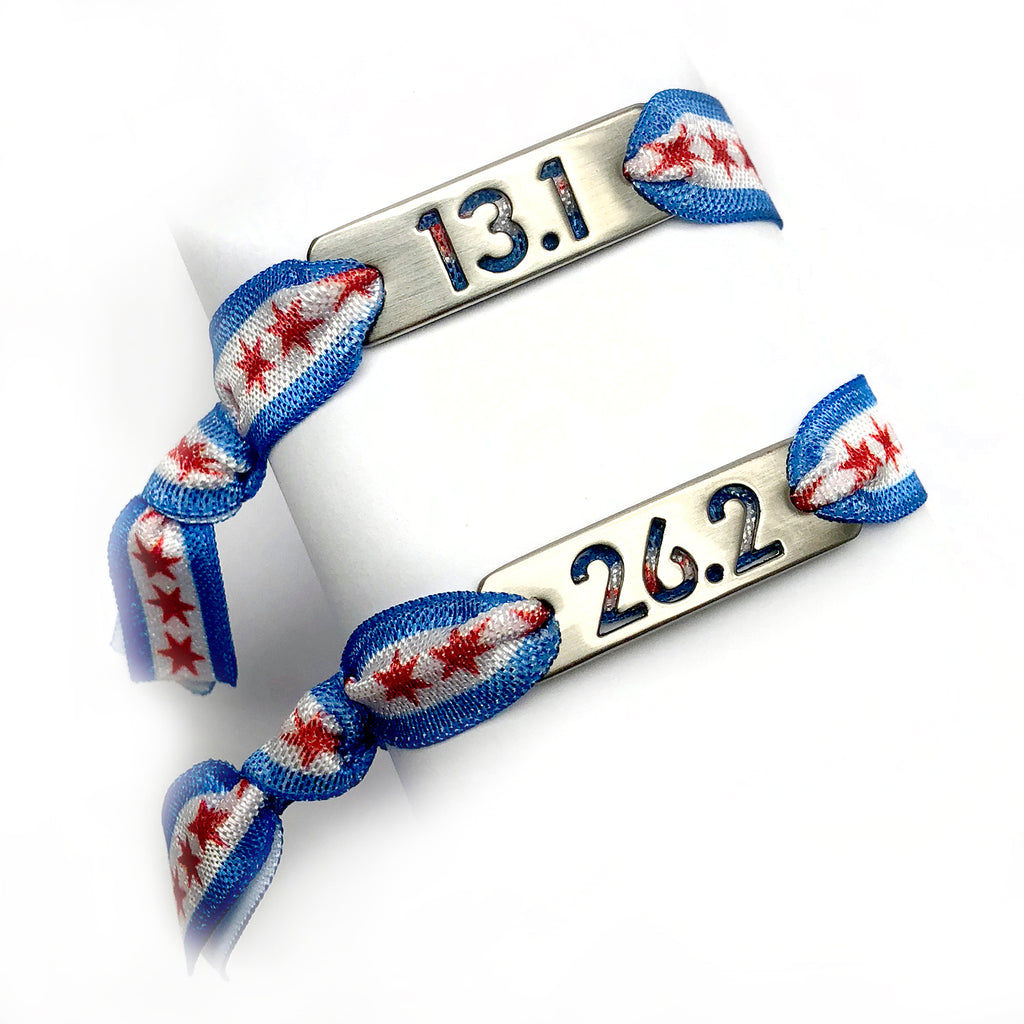 13.1 CHICAGO Flag Tie Stretchy Running Bracelet