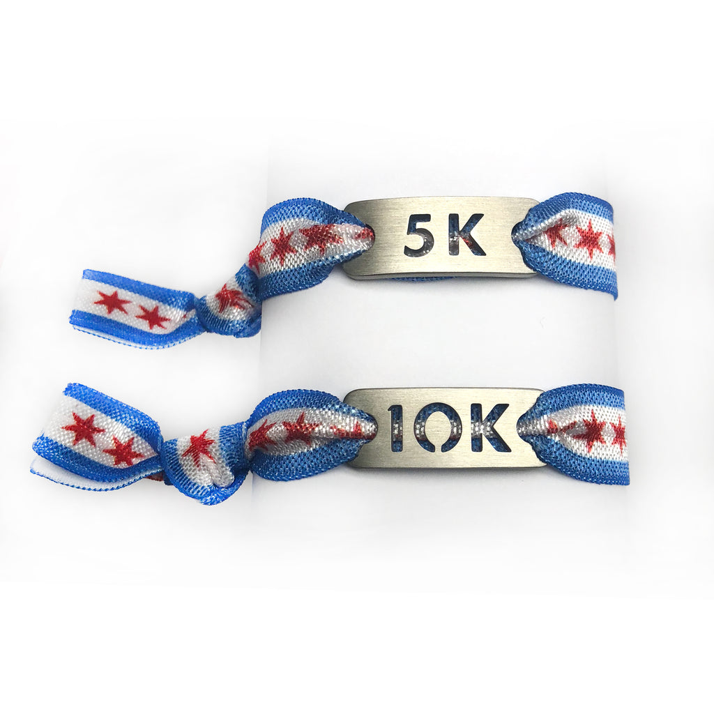 ATHLETE INSPIRED 5K and 10K CHICAGO Flag Running Stretchy Bracelet/Hair Tie