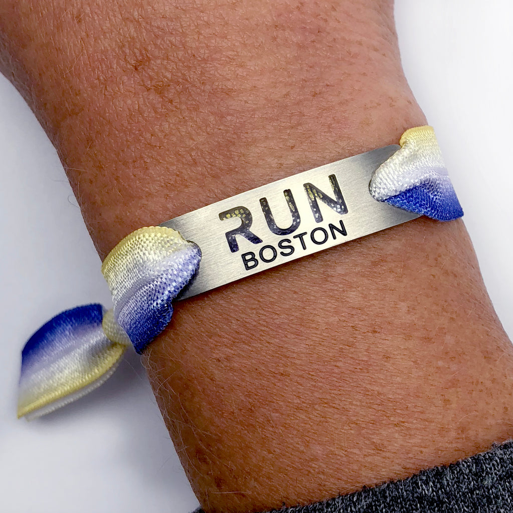 RUN BOSTON - UNICORN INSPIRED - Blue/Yellow Tie Stretchy Running Bracelet