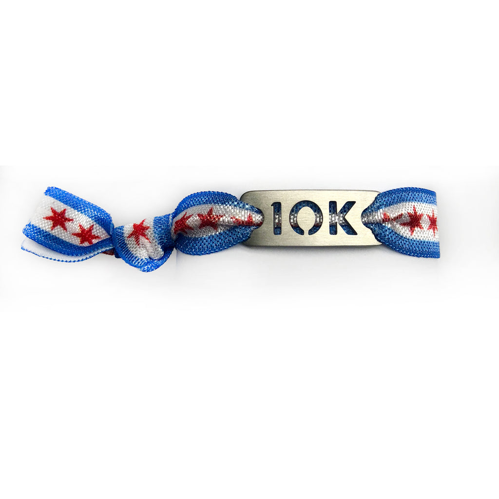 ATHLETE INSPIRED 10K CHICAGO Flag Running Stretchy Bracelet/Hair Tie
