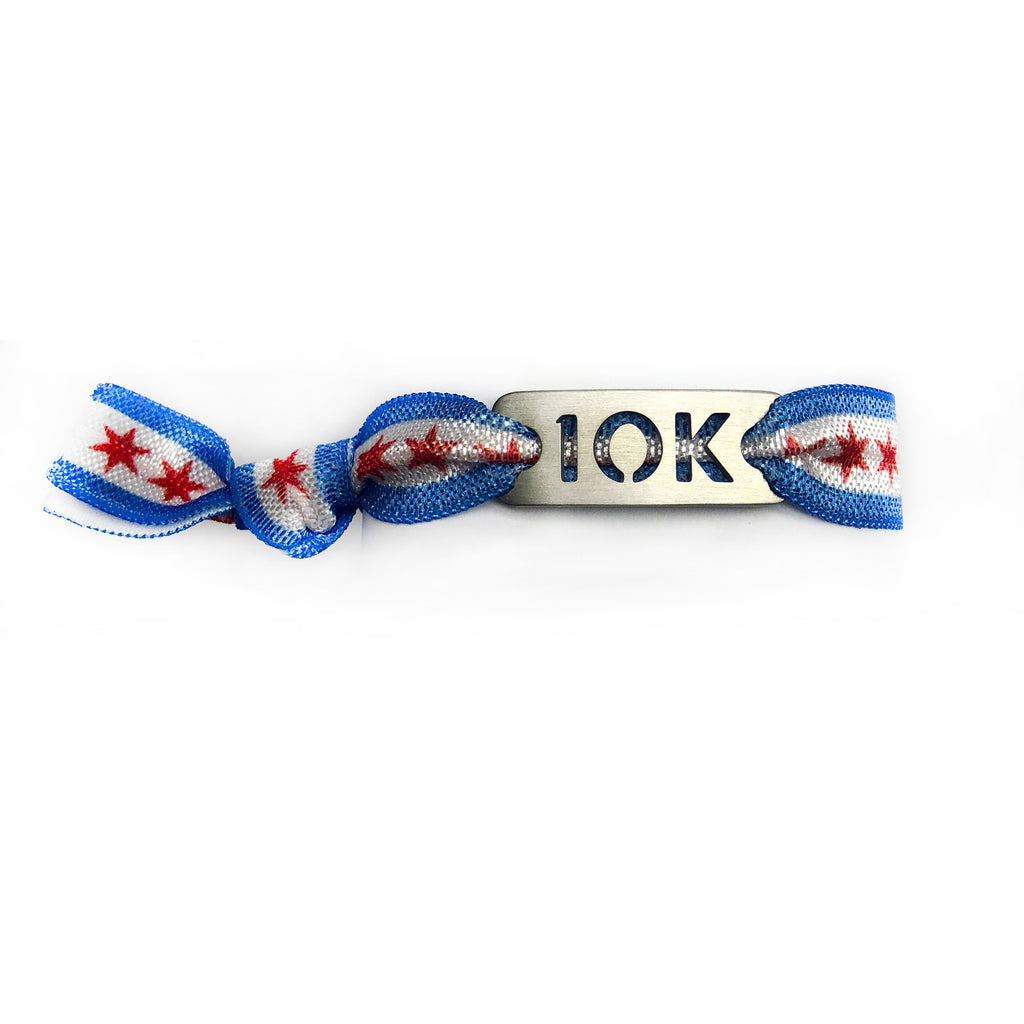10K CHICAGO Flag Tie Stretchy Running Bracelet