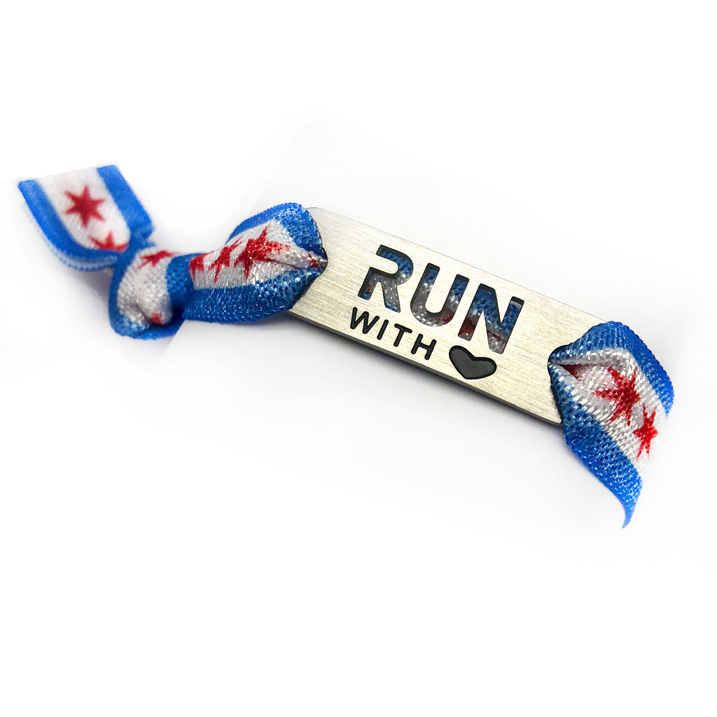 RUN with Heart - CHICAGO Flag Tie Stretchy Running Bracelet
