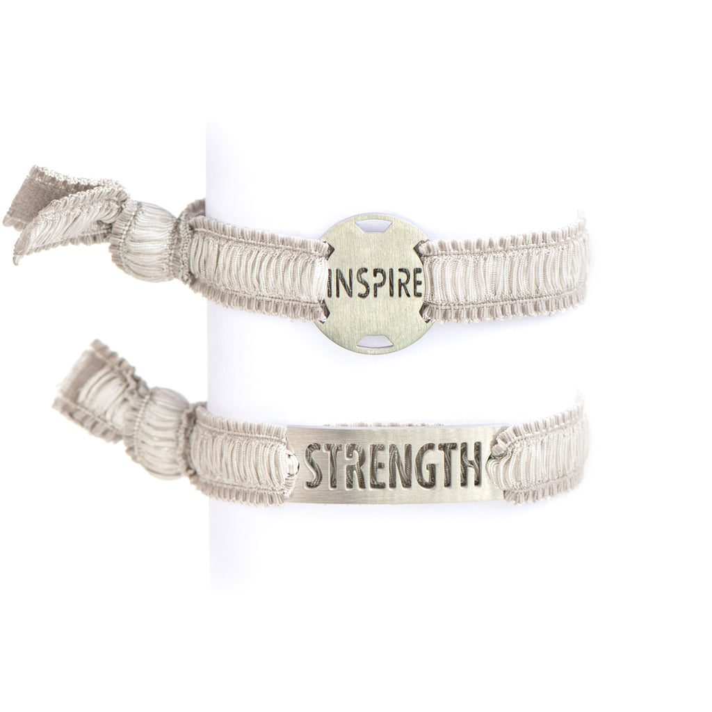 Inspirational - Ruffle Gray Ribbon Stretchy Bracelet -