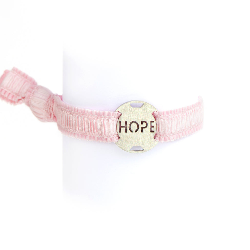 Inspirational - Ruffle Pink Ribbon Stretchy Bracelet - Breast Cancer Awareness - Survivor