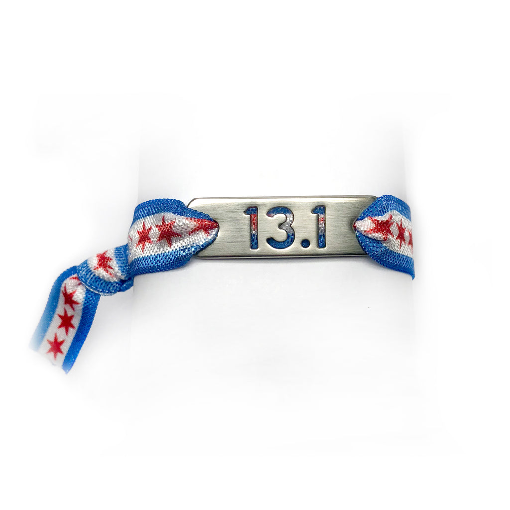 ATHLETE INSPIRED 13.1 CHICAGO Flag Running Stretchy Bracelet/Hair Tie