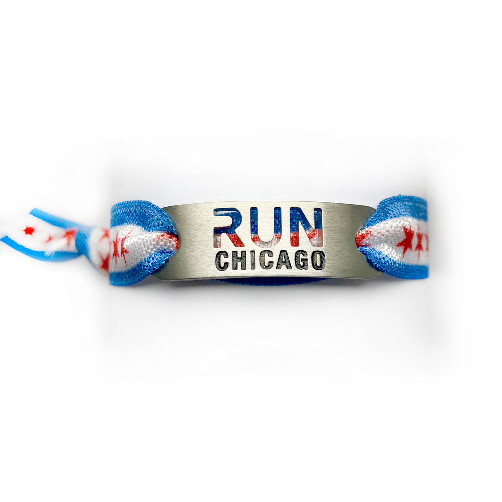 RUN CHICAGO Flag Tie Stretchy Running Bracelet