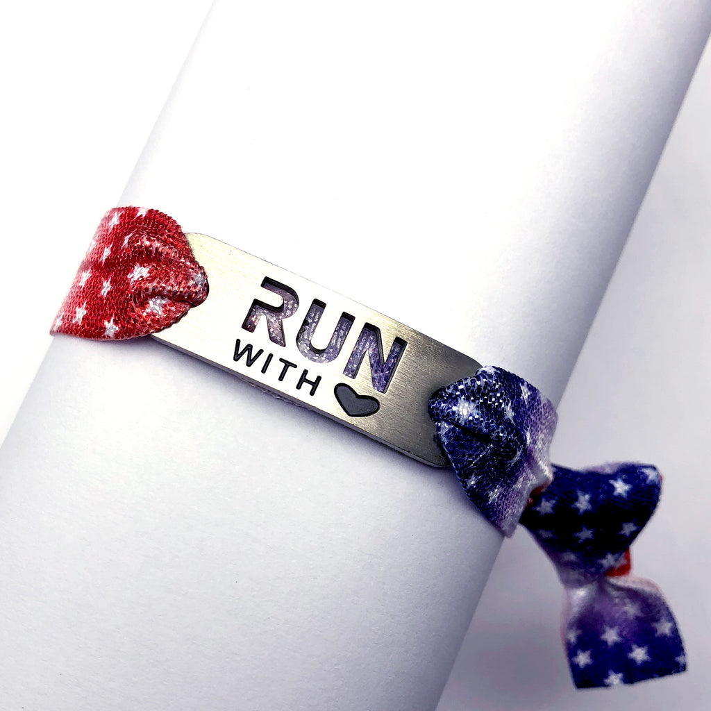 RWB with Stars- Tie Stretchy Bracelet