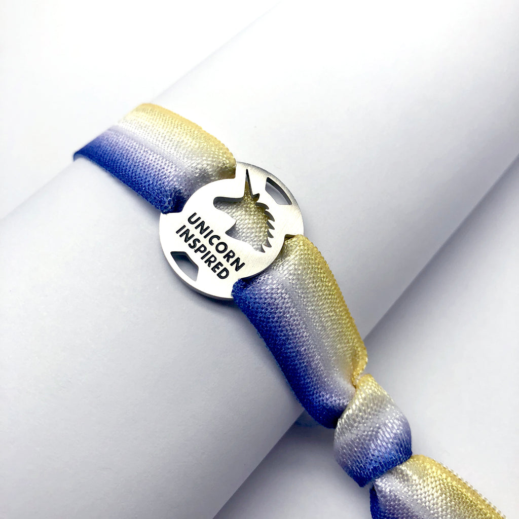 UNICORN INSPIRED - Blue/Yellow Tie Stretchy Running Bracelet