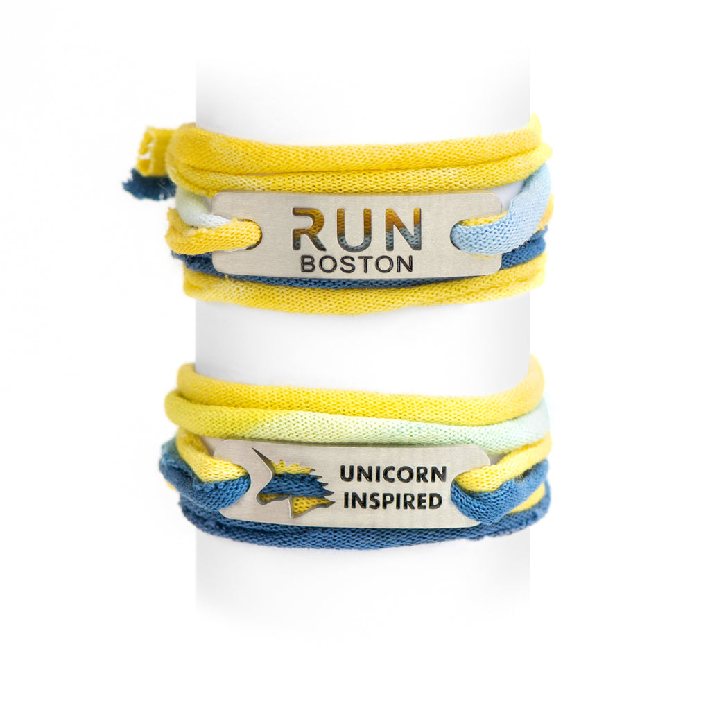 UNICORN INSPIRED  or RUN BOSTON - Blue/Yellow Jersey Wrap Bracelet