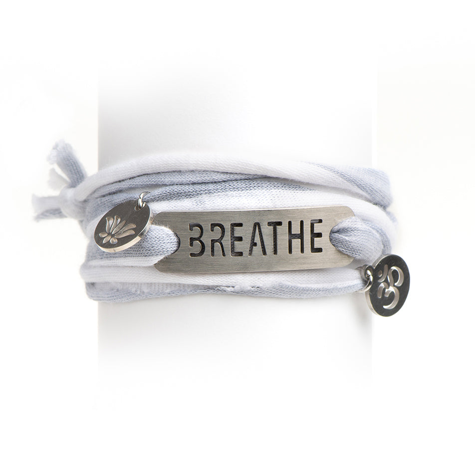Gray/White Stripe Jersey Wrap Bracelet with Charms