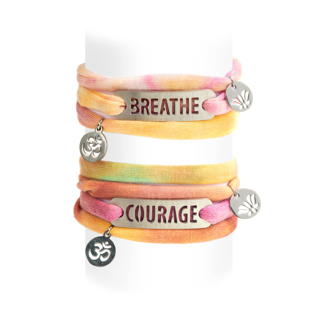 Jersey Wrap Bracelet - Pastel Tie Dye with Charms
