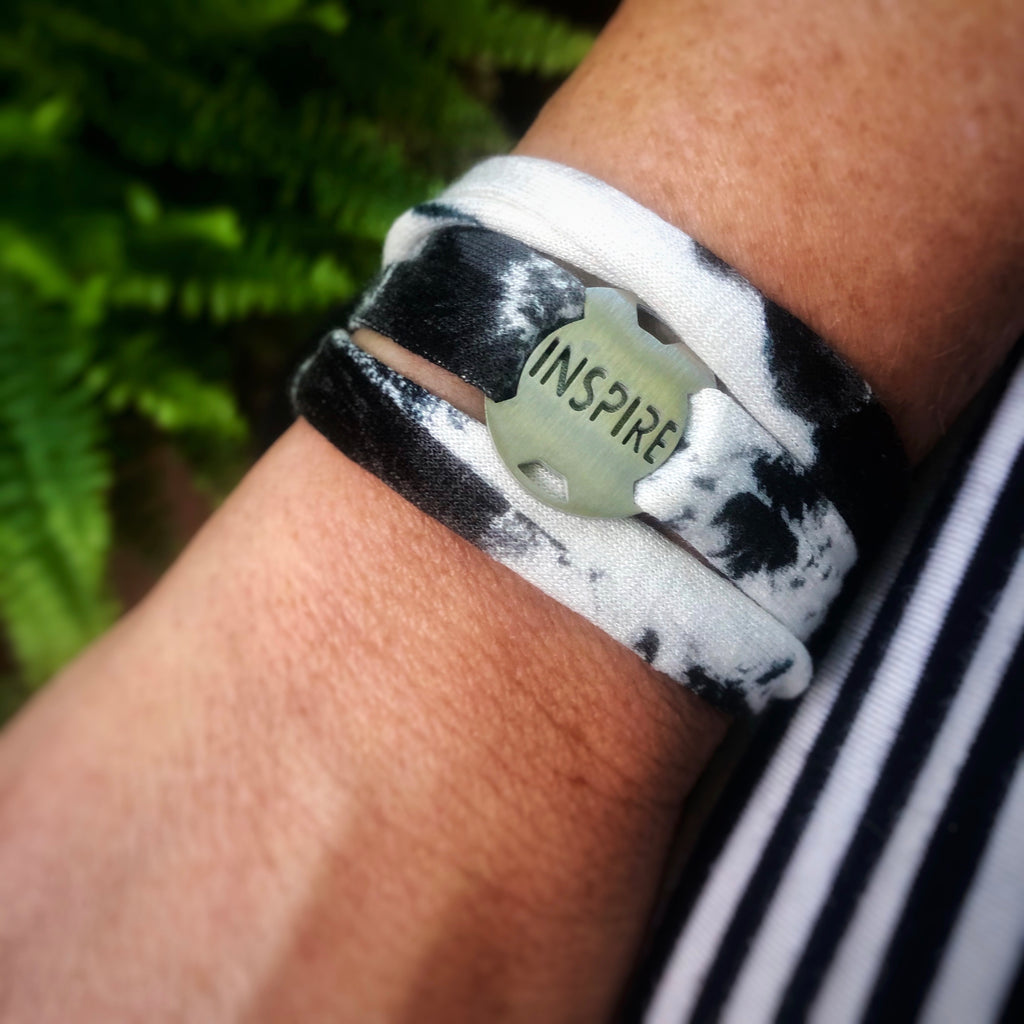*NEW* Jersey Wrap Bracelet - Black/White Tie Dye