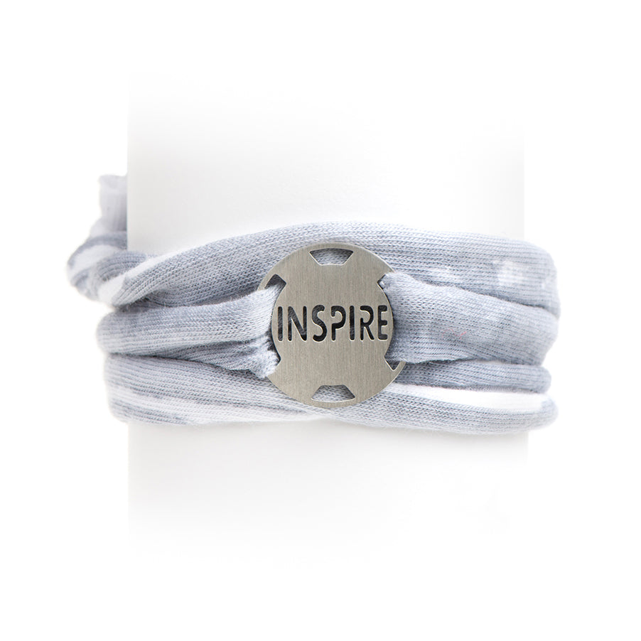 Gray/White Stripe Jersey Wrap Bracelet