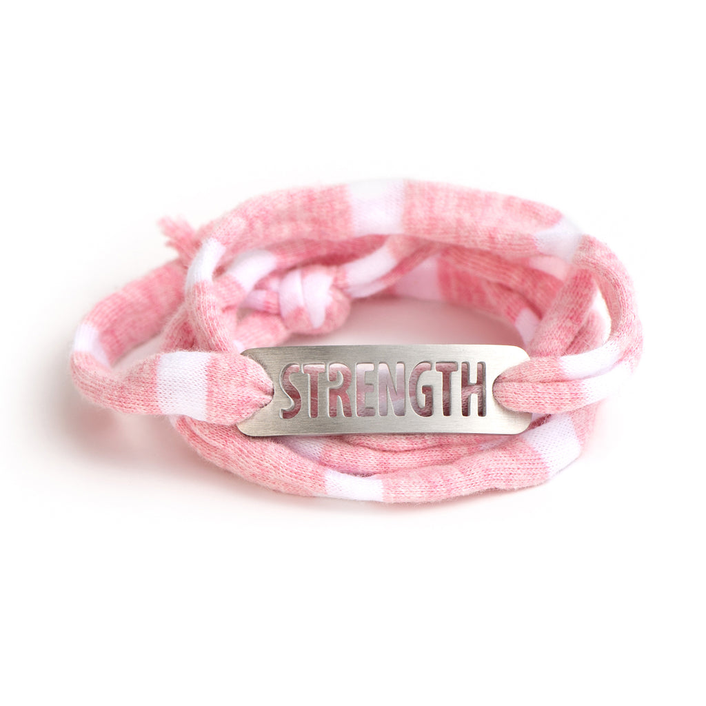 *NEW* Jersey Wrap Bracelet - Pink/White Stripe