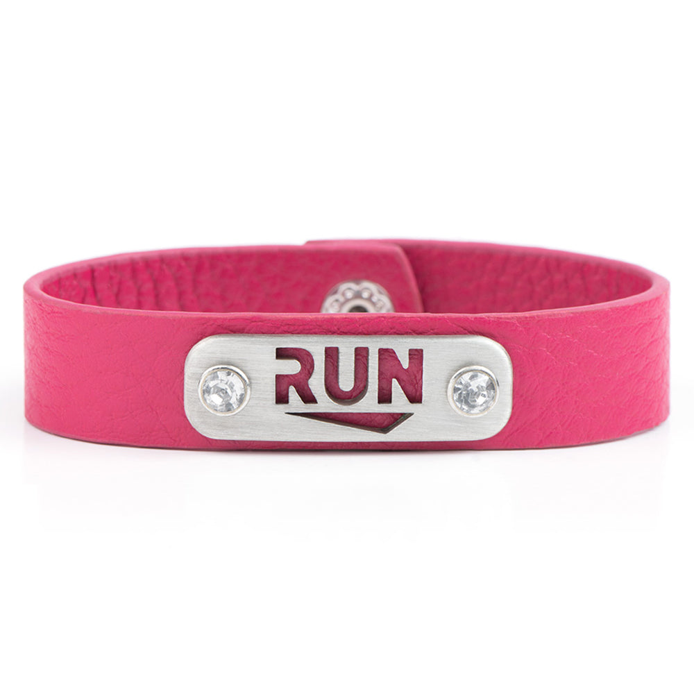 RUN Running Bracelet Wristband - ATHLETE INSPIRED leather running jewelry, run necklace
