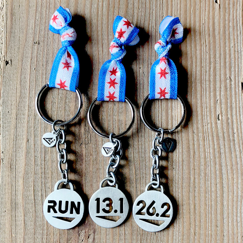 CHICAGO Flag Running Keychain