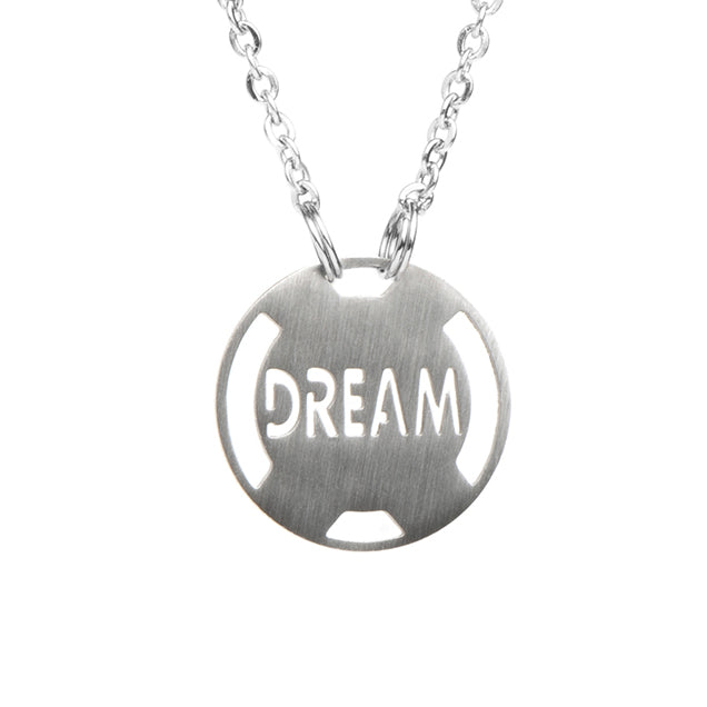 Dream Stainless Steel Inspirational Necklace - ATHLETE INSPIRED Inspirational Jewelry Inspirational Necklace Athlete Inspired, Motivational stainless steel jewelry, Live, Inspire, Hope Dream