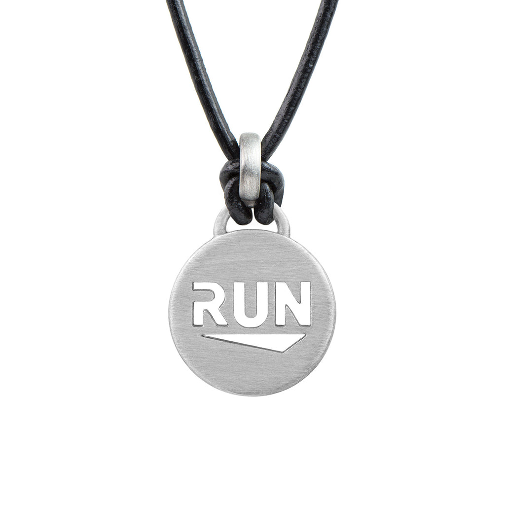 RUN Running Necklace - ATHLETE INSPIRED leather running jewelry, run necklace