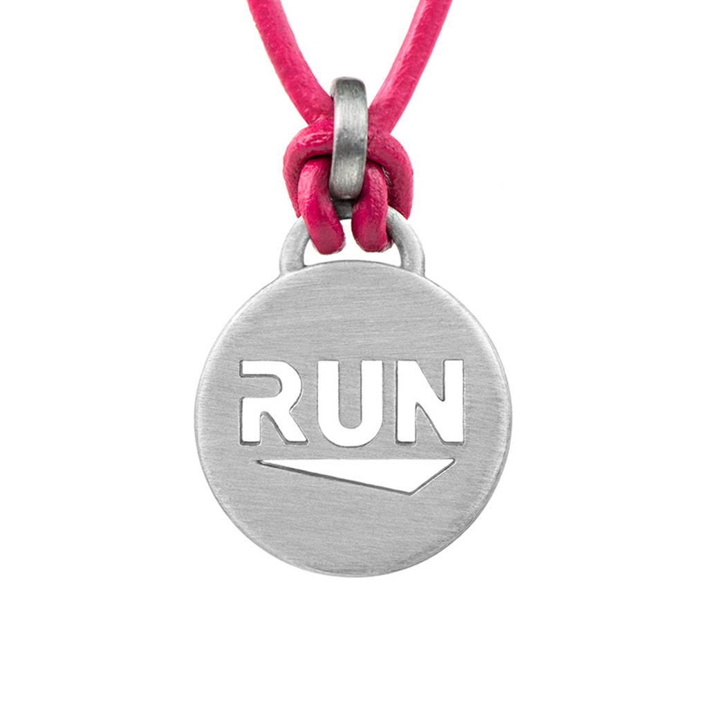 RUN Pendant Running Necklace - ATHLETE INSPIRED leather running jewelry, run necklace