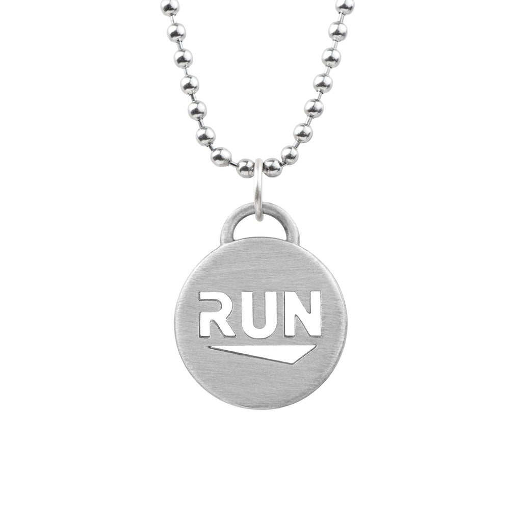 RUN pendant running necklace - ATHLETE INSPIRED stainless steel chain necklace