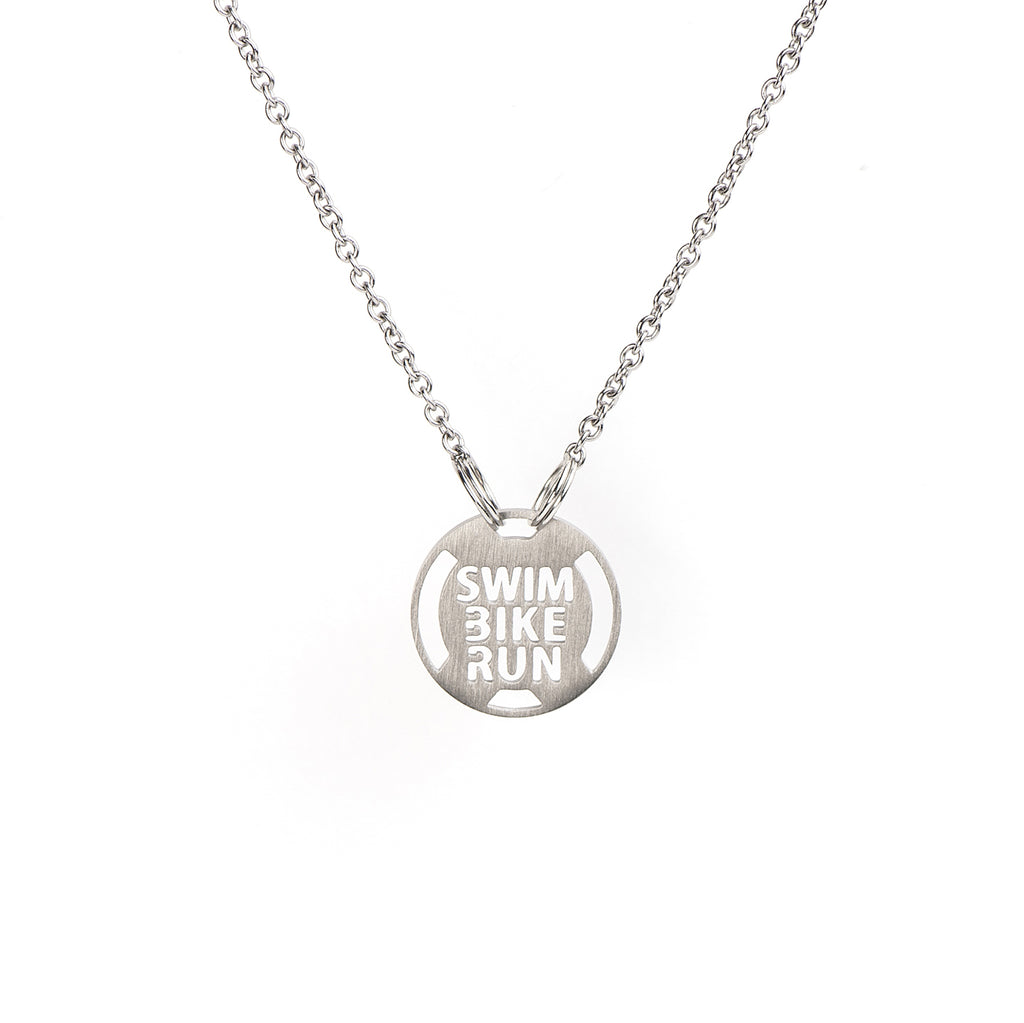 Swim Bike Run Triathlon Necklace, Triathlon Jewelry, stainless steel necklace