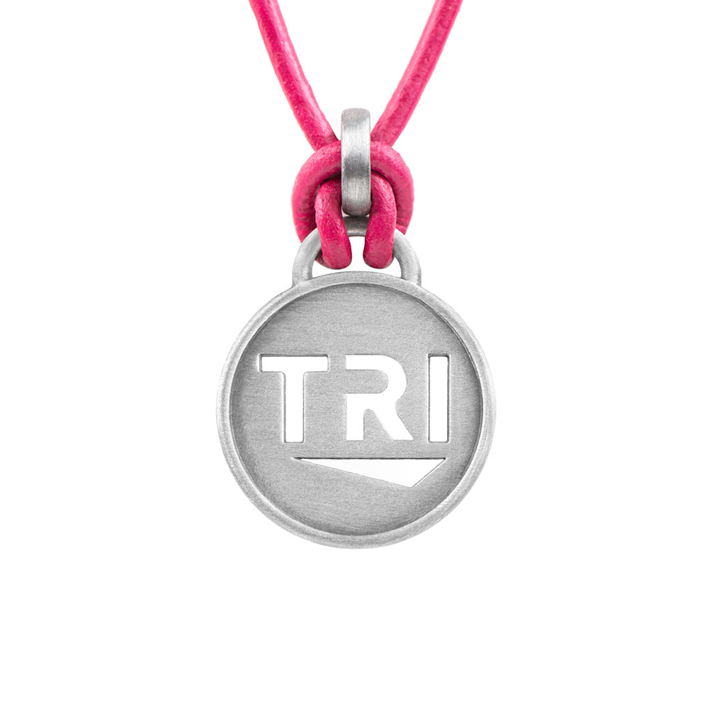 TRI Pendant Leather Triathlon Necklace