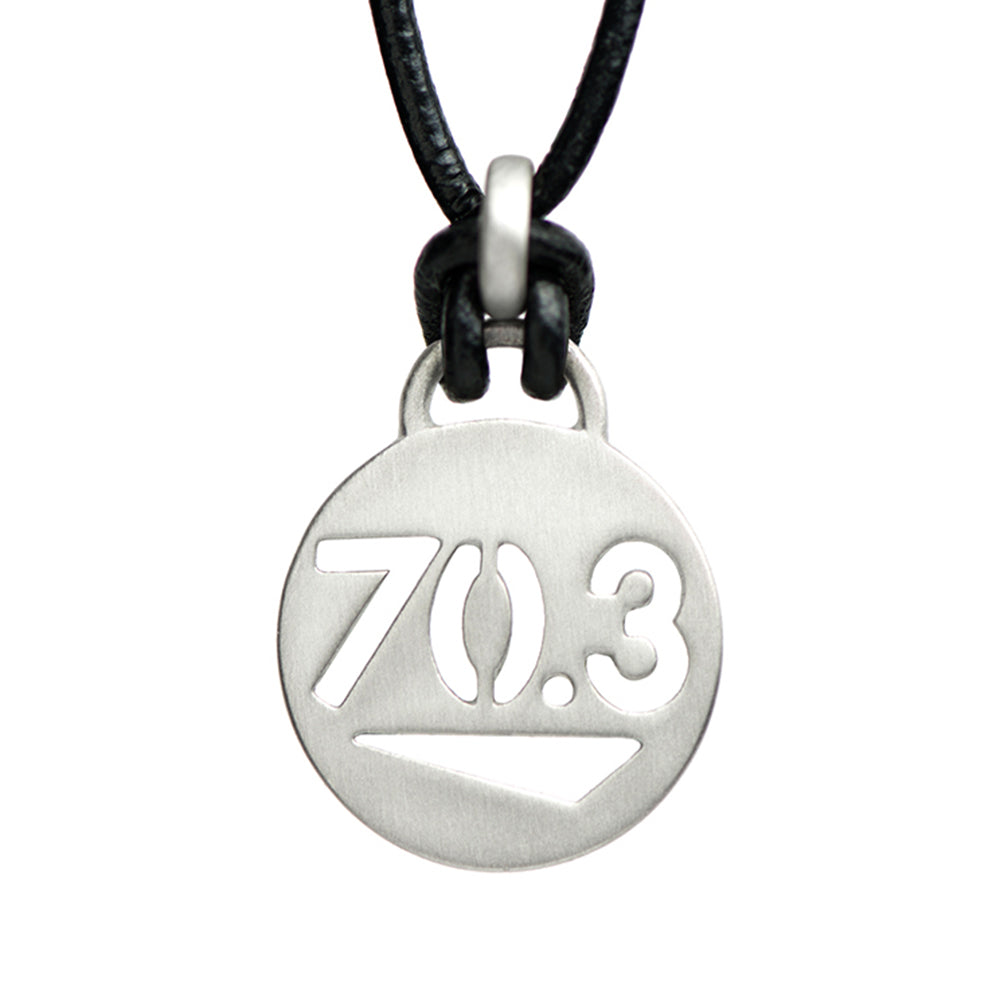 70.3 Half Ironman Triathlon Necklace - ATHLETE INSPIRED - Triathlon Jewelry, Triathlon Necklace, Swim bike run, Half Ironman Necklace