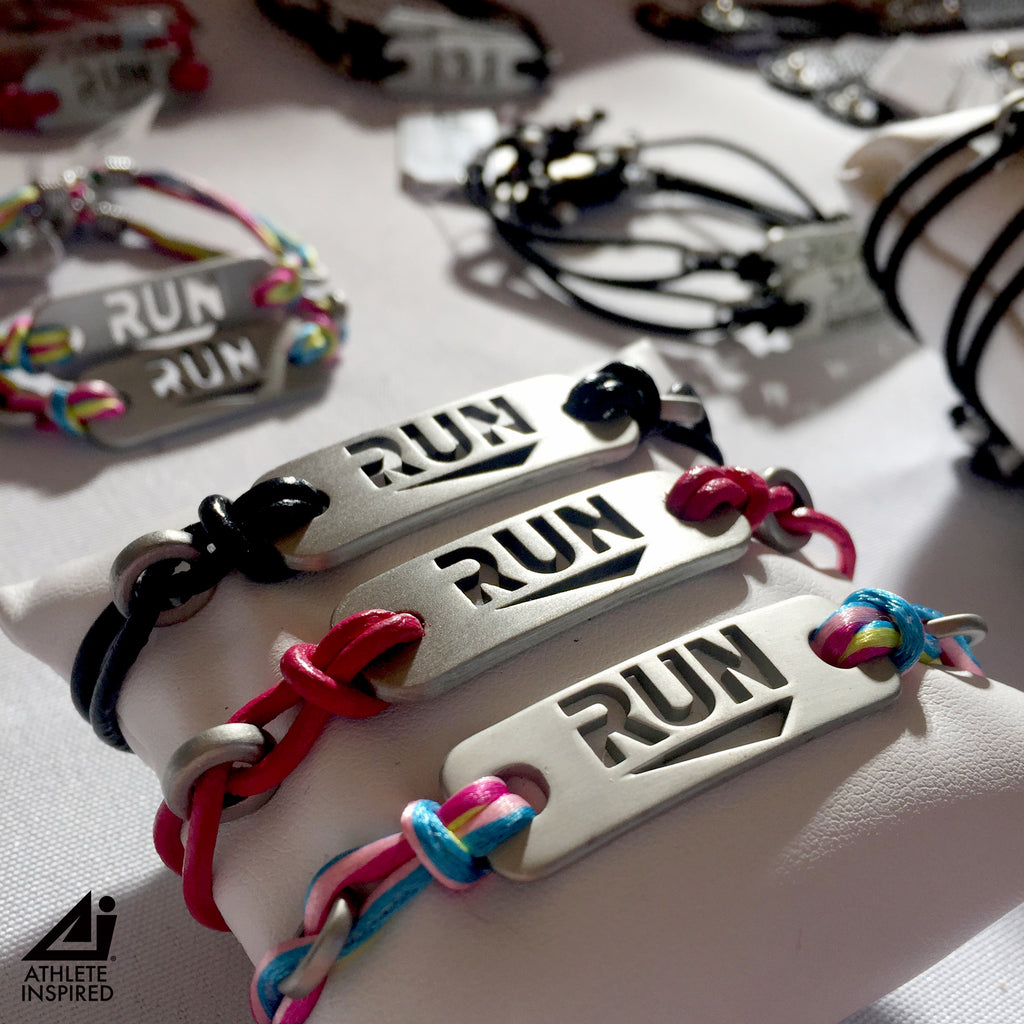 RUN - Running Bracelet - Black or Pink Leather