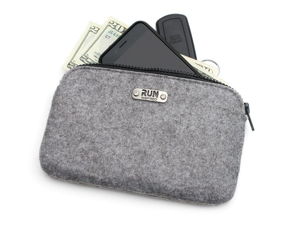 Pink Clutch - Wool Felt Zip Bag