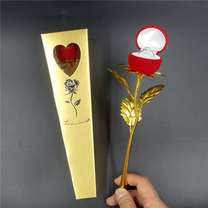 24K Gold Foil Plated Rose Gold Rose Flower - Happy Peaks