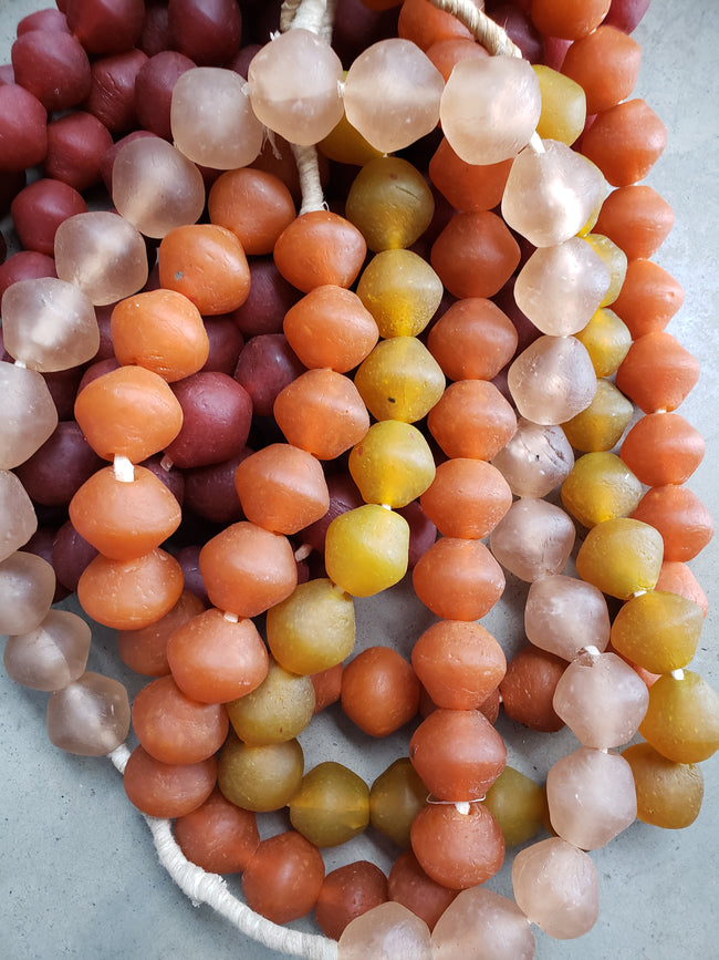 Red Amber Glass Beads