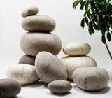Light Grey Felted Wool Rock Pillows