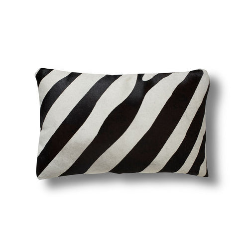 Zebra Print on Cowhide Mini Pillow