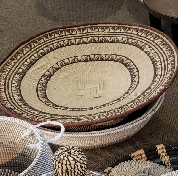 Blonde Patterned Binga/Tonga Basket Large