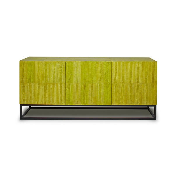 Ostrich Chartreuse Green Skin Credenza